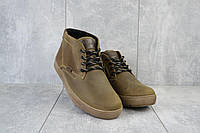 Мужские зимние ботинки на меху в стиле Clarks, шерсть, натуральная кожа, оливковые *** 40 (26,5 см)