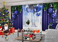 """Фото штори і тюль """"Сині кулі 2"""" (штори 2,5 м*2,9 м, тюль 2,5 м*3,0 м)"""