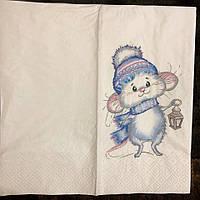 """№ 54 Новогодняя салфетка для декупажа или сервировки стола """"Мышка с фонарем"""". 33х33"""