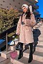 Женская шуба из экомеха поперечного с капюшоном и длиной миди 71sb82, фото 9
