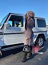 Женская шуба из экомеха поперечного с капюшоном и длиной миди 71sb82, фото 10