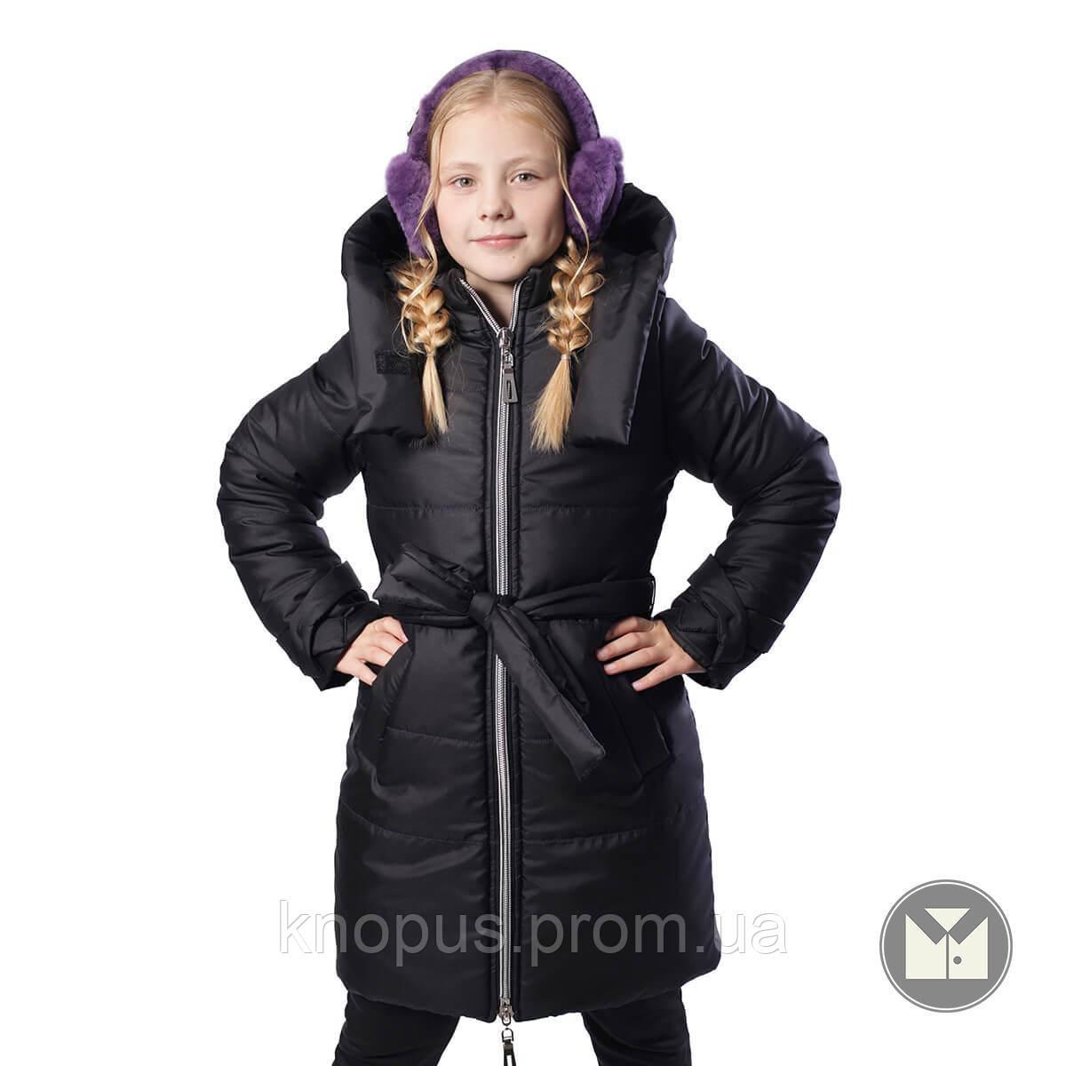 Куртка зимняя для девочки длинная, черная, Тимбо, размеры 122- 152