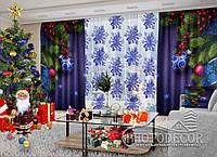 """Фото шторы и тюль """"Елочные игрушки и снежинки"""" (шторы 2,5м*2,9м, тюль 2,5м*3,0м)"""