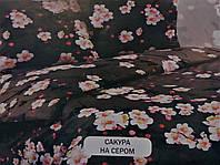 """ЕВРО МАКСИ комплект постельного белья БЯЗЬ """"Сакура на сером"""""""