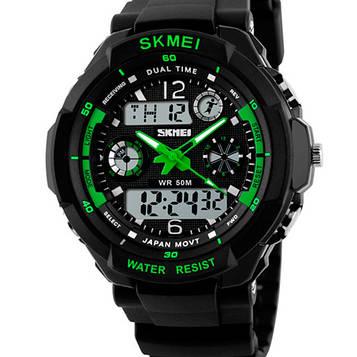 Мужские часы спортивного стиля подойдут к хайп шмоту Skmei S-Shock Green
