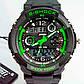 Мужские часы спортивного стиля подойдут к хайп шмоту Skmei S-Shock Green, фото 7