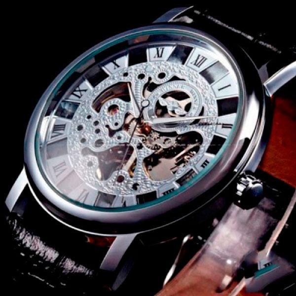 Мужские часы скелетоны отличного качества с гарантией Winner Silver