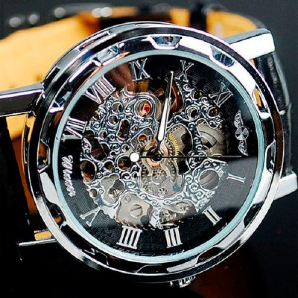 Серебристые скелетоны часы мужские наручные Winner