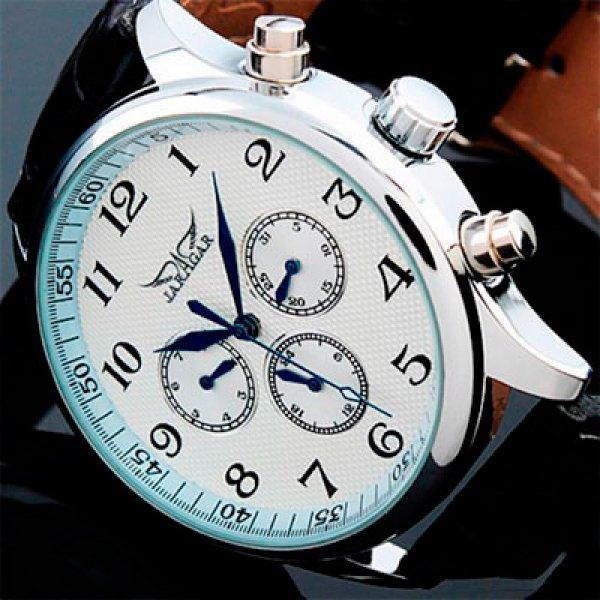 Красивые элегантные мужские часы на кожаном ремешке Jaragar