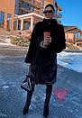 Женская искусственная шуба поперечная с воротником стойкой и длиной 105 см 71shu81, фото 3