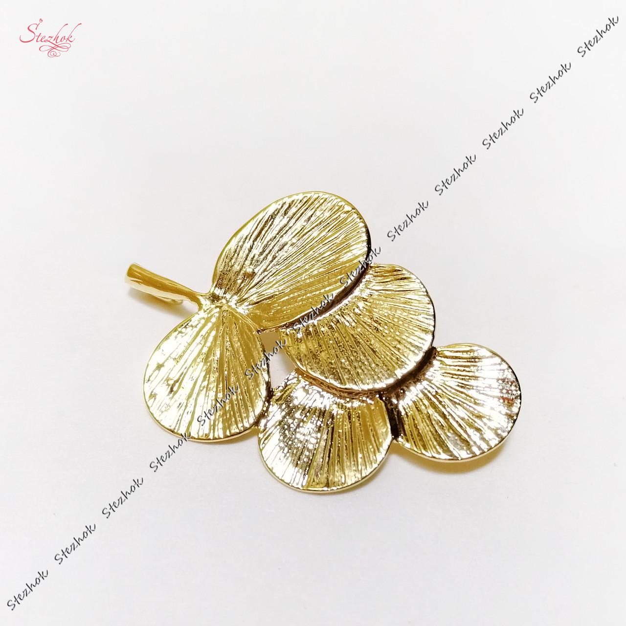 Металлический коннектор веточка 29х20 мм золотое покрытие для рукоделия
