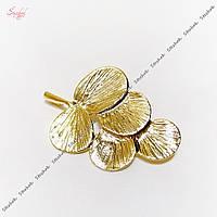 Металлический коннектор веточка 29х20 мм золотое покрытие для рукоделия, фото 1