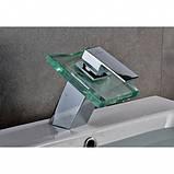 Змішувач - водоспад скляний для раковини з LED підсвіткою, фото 4