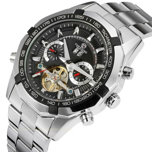 Восхитительные мужские часы с стальным ремешком Forsining