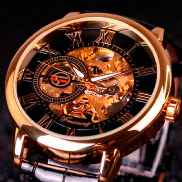 Мужские часы скелетоны круглой формы Forsining