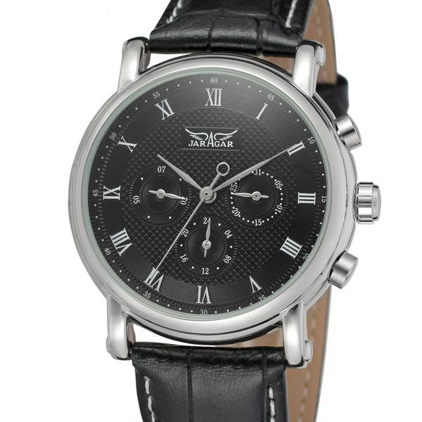 Стильные черные мужские часы к деловому стилю Jaragar