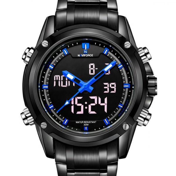 Комбинированные стильные мужские часы в черном цвете Naviforce
