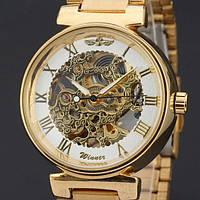 Классические золотистые мужские часы скелетоны Winner