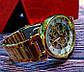 Классические золотистые мужские часы скелетоны Winner, фото 6