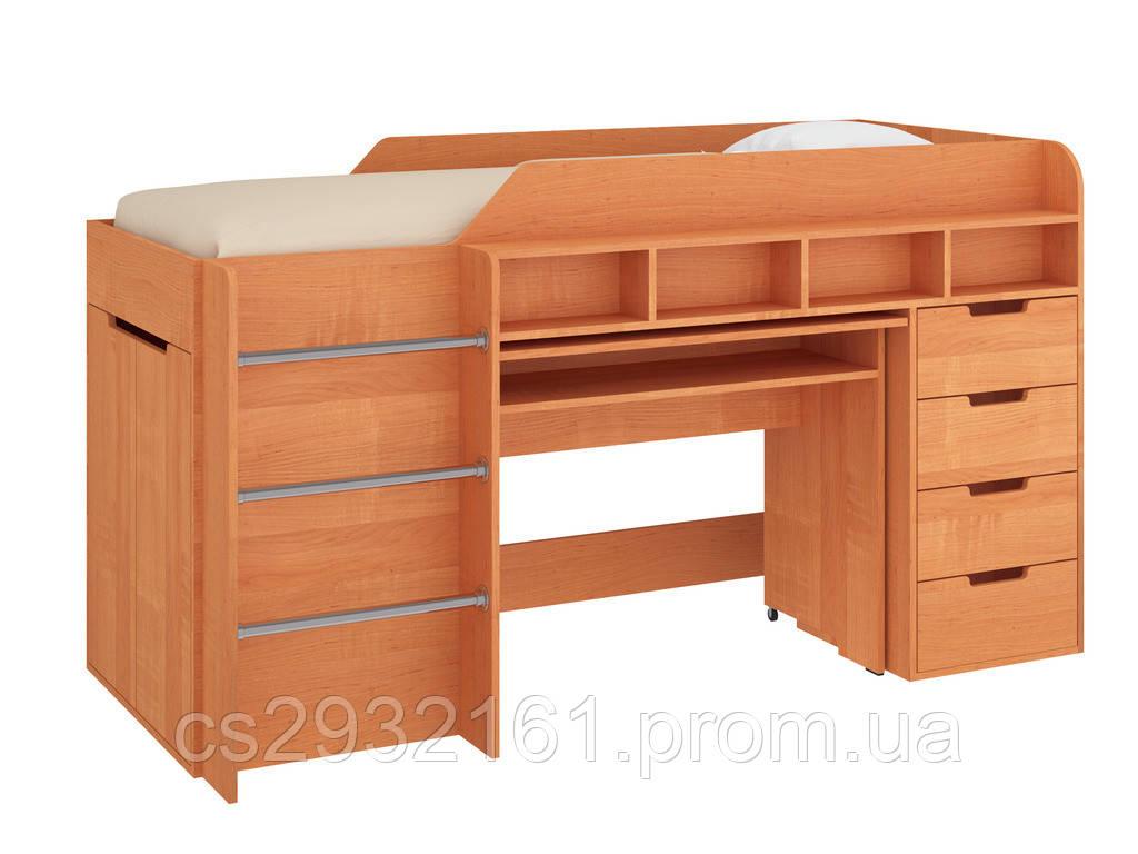 Кровать чердак Легенда, кровать детская, кровать со столом ольха