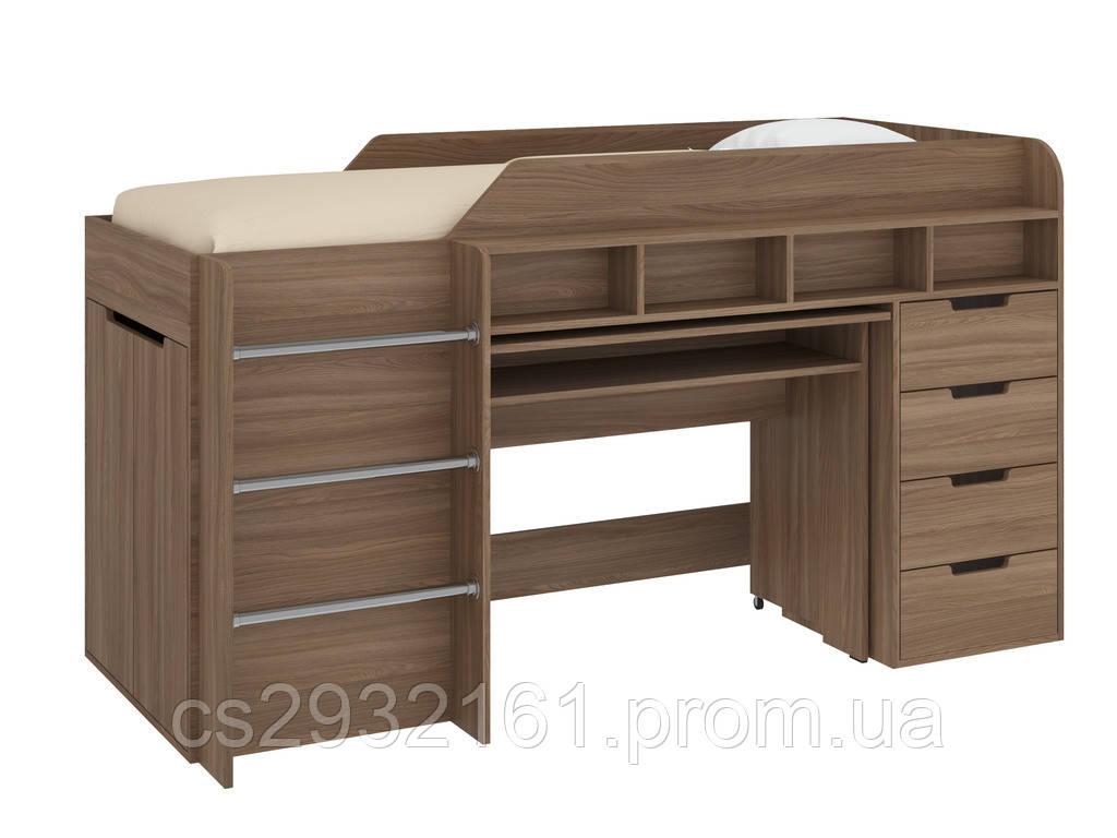 Кровать чердак Легенда, кровать детская, кровать со столом ясень шимо