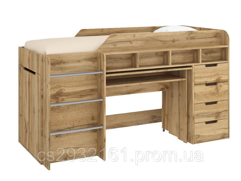 Кровать чердак Легенда, кровать детская, кровать со столом дуб тахо