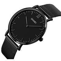 Тонкие классические мужские часы в черном цвете Skmei