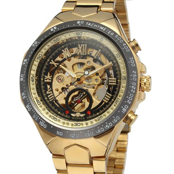 Золотистые скелетоны на стальном ремешке с римским циферблатом для мужчин часы Winner