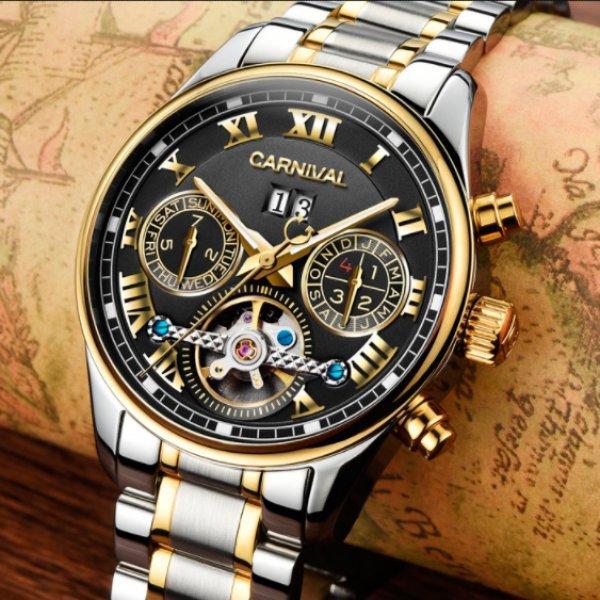 Серебристые стильные мужские часы с золотистыми вставками на стальном ремешке Carnival