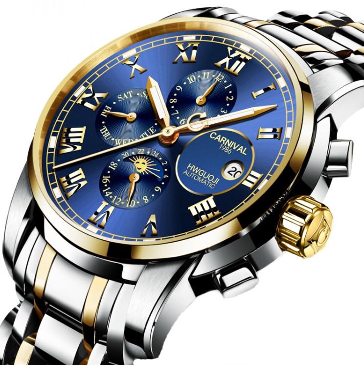 Часы наручные мужские механические элитные Carnival London Silver