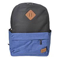 Молодежный городской рюкзак Venlice черно-синий(электрик)
