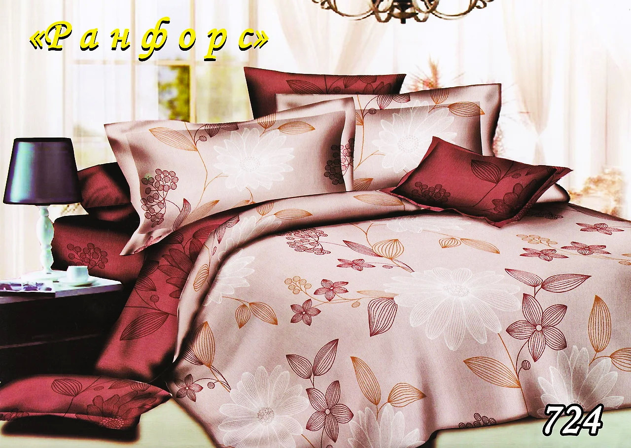 Комплект постельного белья Тет-А-Тет (Украина) евро ранфорс с простынью на резинке (724)