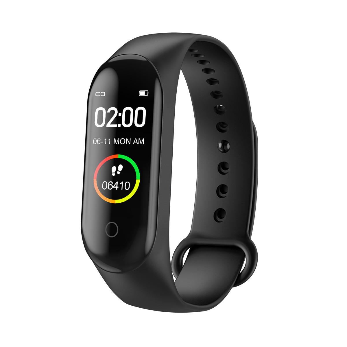 Фитнес браслет М4 для измерения пульса и давления smart bracelet M4 smart band смарт часы шагомер, черный