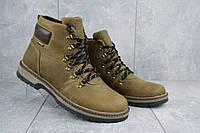 Мужские зимние ботинки на меху в стиле Yuves Obr, шерсть, натуральная кожа, оливковые *** 42 (28 см)