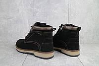 Мужские зимние ботинки на меху в стиле Yuves, шерсть, замша, черные *** 40 (26,5 см)