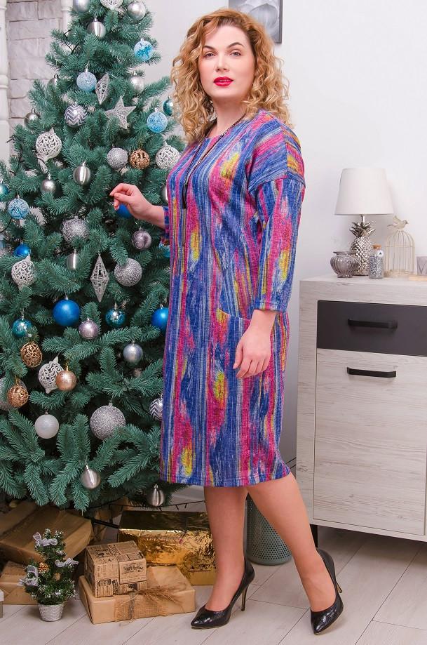 Стильное платье размер плюс Джанин  3 цвета (52-62)