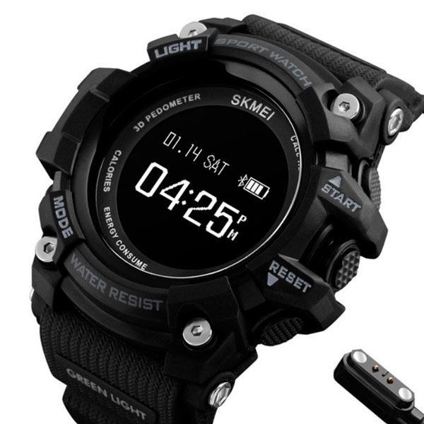 Массивные спортивные смарт мужские часы с пульсометром Skmei