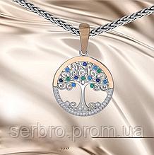 Кулон в серебре с золотом и цирконами Дерево жизни