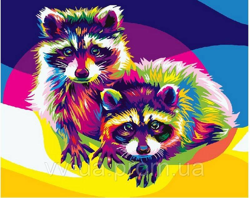 Картина по номерам Радужные еноты, 40x50 см, Brushme (Брашми), премиум упаковка (PGEX5387)