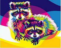 Картина по номерам Радужные еноты, 40x50 см, премиум упаковка, Brushme (Брашми)