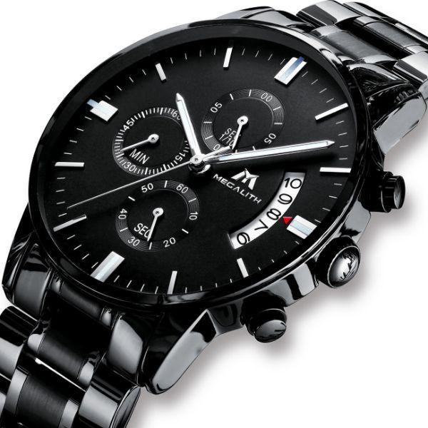 Черные стильные мужские часы MegaLith Super