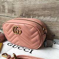 Розовая сумка на пояс GUCCI Marmont