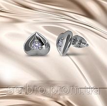 Срібні сережки гвоздики з цирконом Сердечка