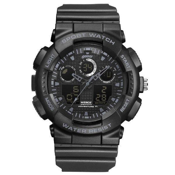 Черные спортивные мужские часы Weide Poller