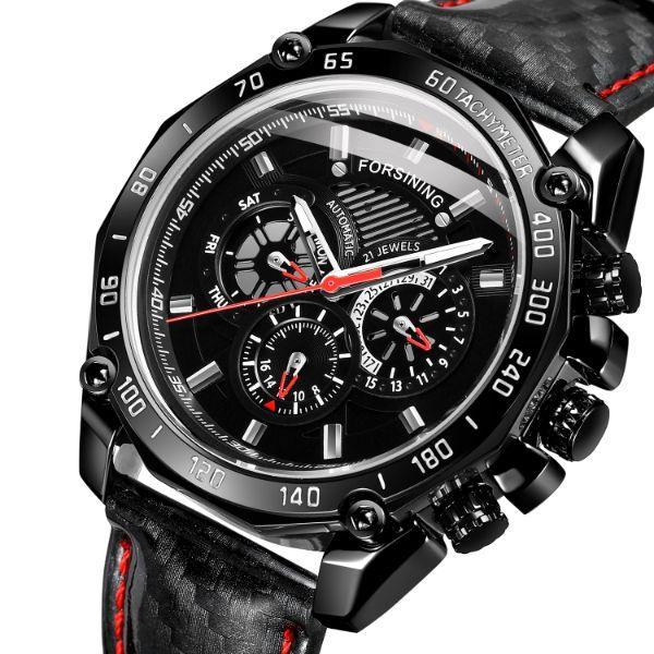 Часы наручные мужские механические черные Forsining