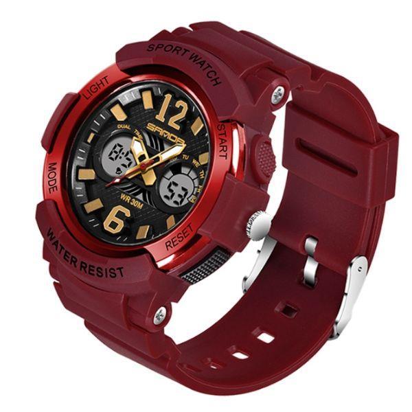 Бордовые мужские часы для спорта Sanda