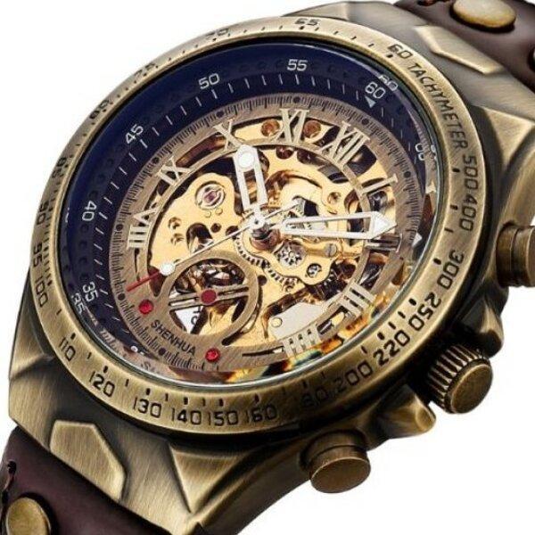 Статусные мужские часы скелетоны с стальным ремешком Winner Status New