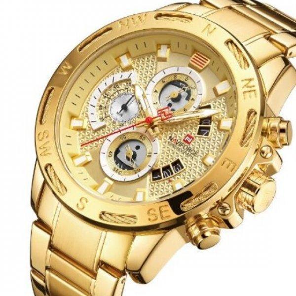 Часы мужские наручные золотого цвета и вида  Naviforce Golden Gate