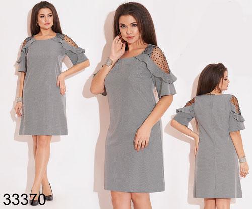 Вечернее серое платье плечи из сетки 48,50,52,54