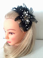 Обруч с перьями черно-белый в стиле гетсби, мафия, ретро, 30-40 годов